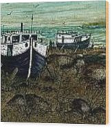 House Boats Wood Print