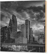 Houston At Twilight Wood Print