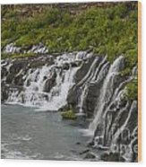 Hraunfossar Waterfall In Iceland Wood Print