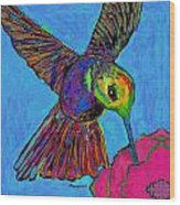 Hummingbird On Blue Wood Print