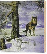 Hunting Wolf Wood Print