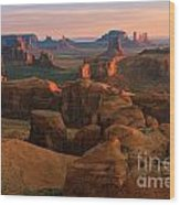 Hunts Mesa In Monument Valley Wood Print
