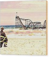 Hurricane Sandy Fireman Wood Print by Jessica Cirz