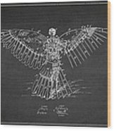 Icarus Flying Machine Patent Drawing Rear View Wood Print