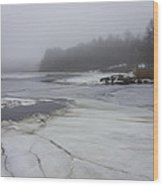 Ice And Fog And The Ipswich River Wood Print