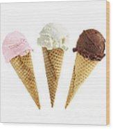 Ice Cream In Sugar Cones Wood Print by Elena Elisseeva