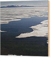 Ice On Yellowstone Lake Wood Print