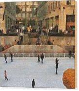 Ice Skating In New York City Wood Print