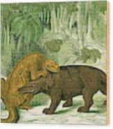 Iguanodon Biting Megalosaurus Wood Print