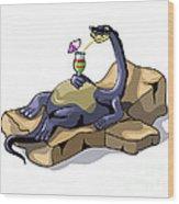 Illustration Of A Brontosaurus Wood Print