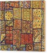Indian Patchwork Carpet Wood Print