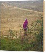 Indian Woman In Field Wood Print