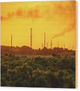 Industrial Chimney Stacks In Natural Landscape Polluting The Air Wood Print