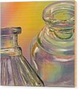 Ink Bottles On Color Wood Print by Carol Leigh