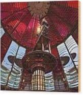 Interior Of Fresnel Lens In Umpqua Lighthouse Wood Print