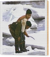 Inuit Boys Ice Fishing Barrow Alaska July 1969 Wood Print