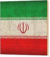 Iran Flag Vintage Distressed Finish Wood Print
