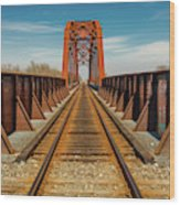 Iron Railroad Bridge Over Water, Texas Wood Print