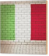 Italy Flag Brick Wall Background Wood Print