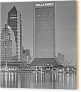 Jacksonville Florida Black And White Panoramic View Wood Print