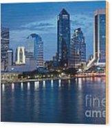 Jacksonville Skyline At Dusk Wood Print
