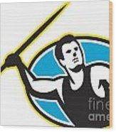 Javelin Throw Track And Field Athlete Wood Print