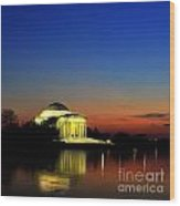 Jefferson Monument Reflection Wood Print