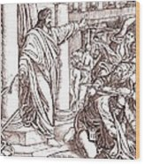 Jesus Cleansing The Temple Wood Print
