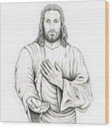 Jesus Offering His Hand Wood Print
