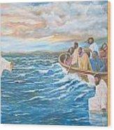 Jesus Walking On Water Wood Print