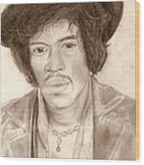 Jimi Hendrix Wood Print by Michael Mestas