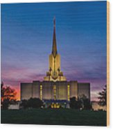 Jordan River Temple Sunset Wood Print