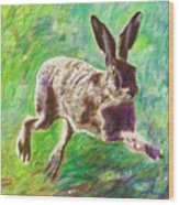 Joyful Hare Wood Print