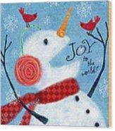 Joyful Snowman Wood Print