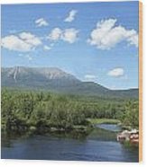 Katahdin From Abol Bridge Wood Print