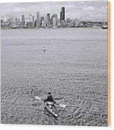 Kayaking Elliot Bay Wood Print
