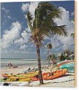 Kayaks On The Beach Wood Print
