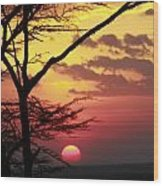 Kenyan Sunset Wood Print