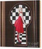 Keyhole Retro Fashion Portrait Of Stylish Girl Wood Print