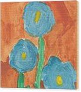 Kid Watercolor Drawing - Three Flowers Wood Print