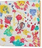Kid's Artwork Colorful Background Wood Print