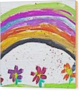 Kid's Drawing With Flowers And Colorful Rainbow Wood Print