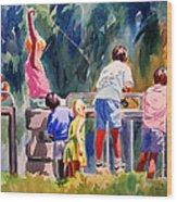Kids Fishing Wood Print