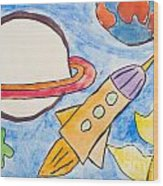 Kid's Painting Of Universe With Planets And Stars Wood Print