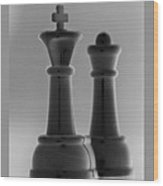 King And Queen In Black And White Wood Print