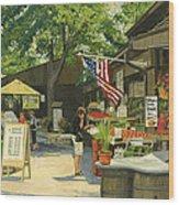 Kirkwood Farmers Market American Flag Wood Print