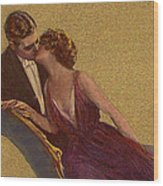 Kissing On The Chaise-longue Valentine Wood Print