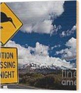 Kiwi Crossing Road Sign And Volcano Ruapehu Nz Wood Print