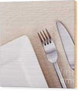 Knife Fork And Plate Wood Print