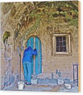 Knocking On A Blue Door Of Tufa Home In Goreme In Cappadocia-turkey  Wood Print